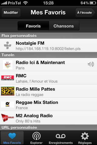 tunein radio favoris