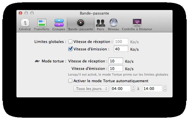 Transmission Mac bande passante