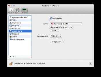 Parallels Desktop 10 disque dur