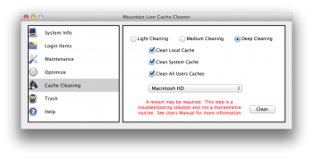 Mountain Lion Cache Cleaner