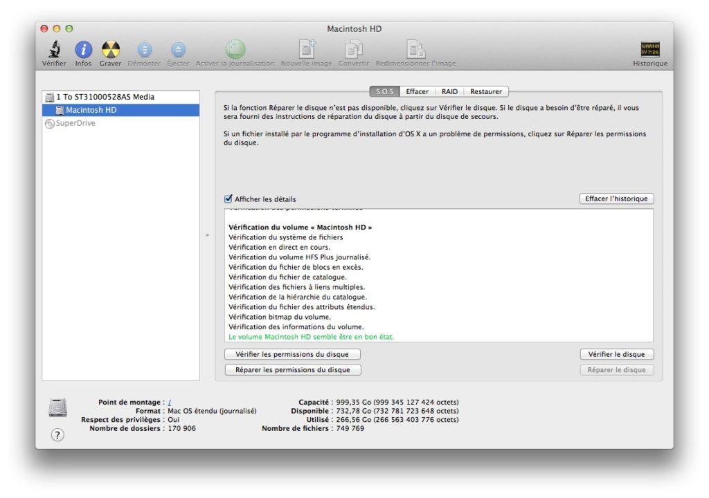 vérifier et réparer le disque de son mac Mountain Lion verifier etat du disque
