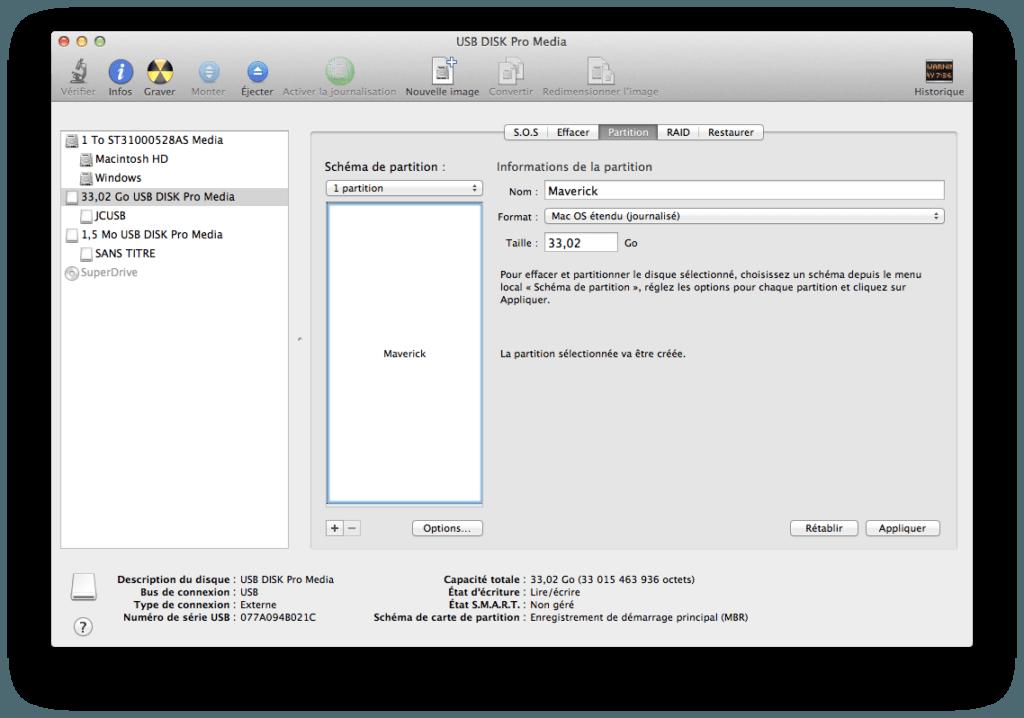 Créer un disque USB Bootable de MAC OS X Mavericks partition usb mavericks