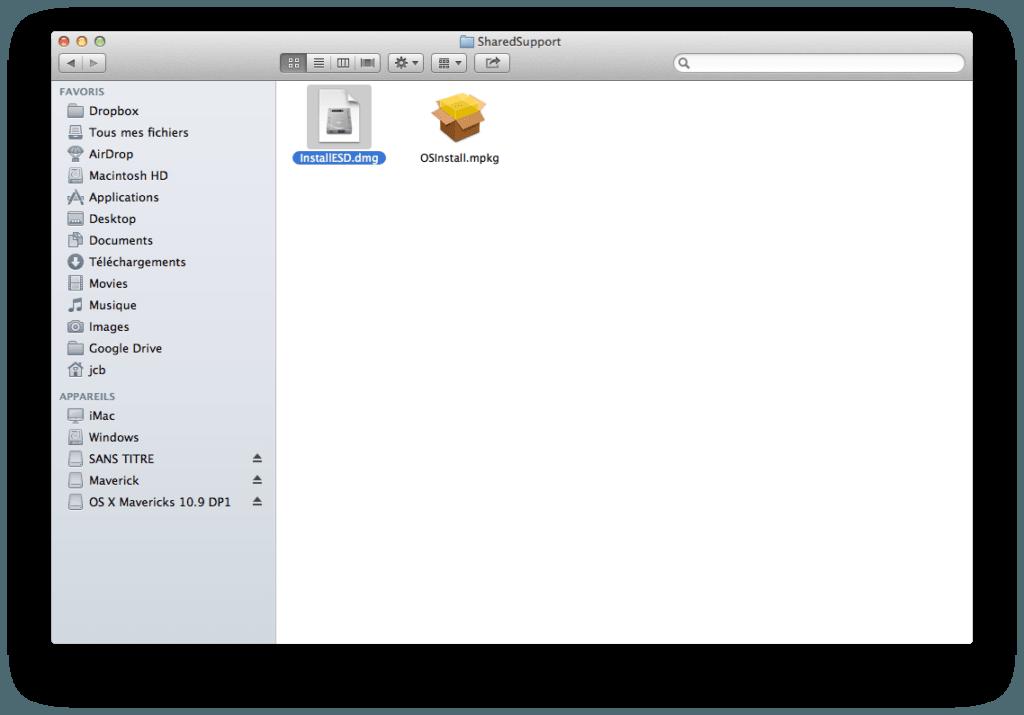 Créer un disque USB Bootable de MAC OS X Mavericks image disque