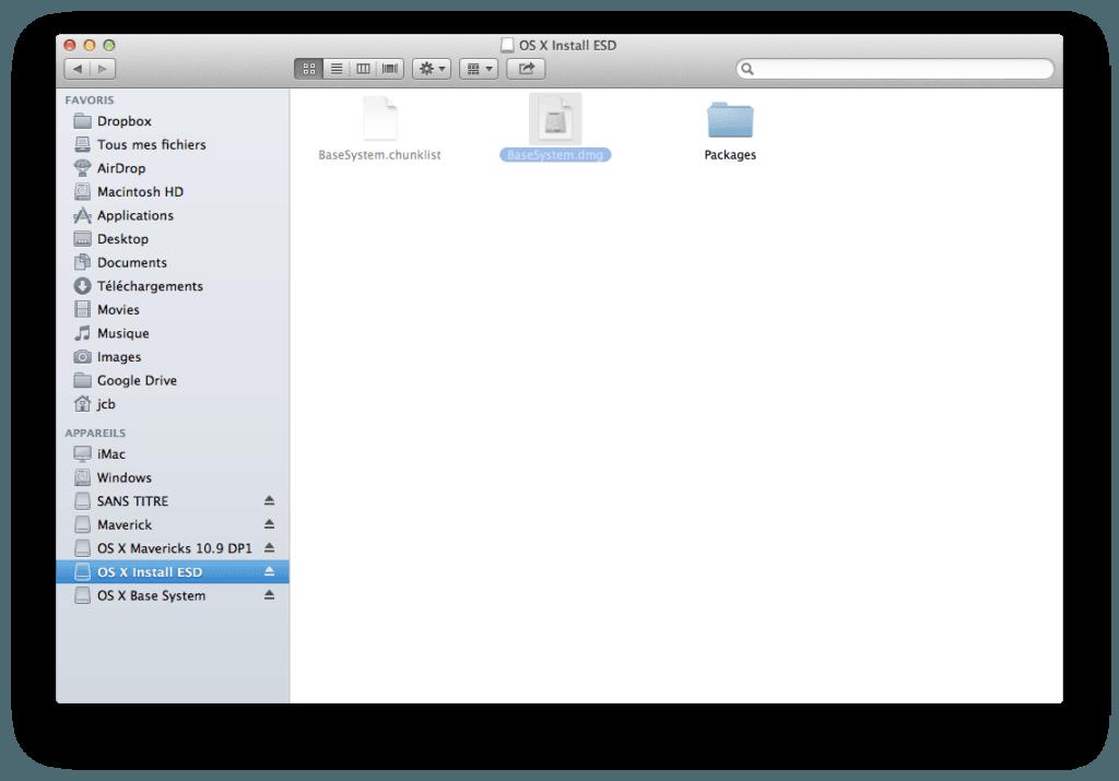 Créer un disque USB Bootable de MAC OS X Mavericks basesystem.dmg