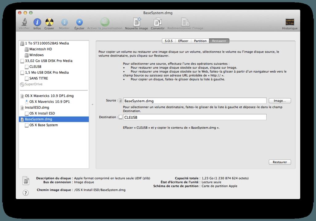 Créer un disque USB Bootable de MAC OS X Mavericks mac os x10.9 restoration