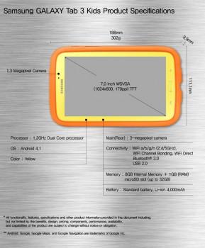 Samsung Galaxy Tab 3 Kids specifications