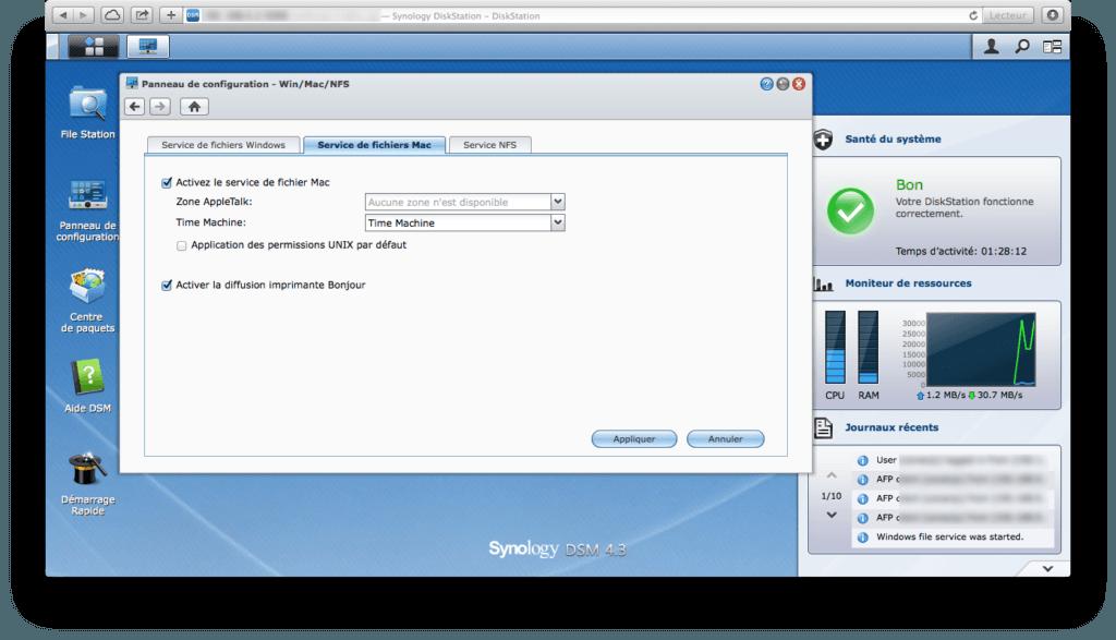 Mac OS X Mavericks Mac os x sauvegarde sur serveur NAS DS213+