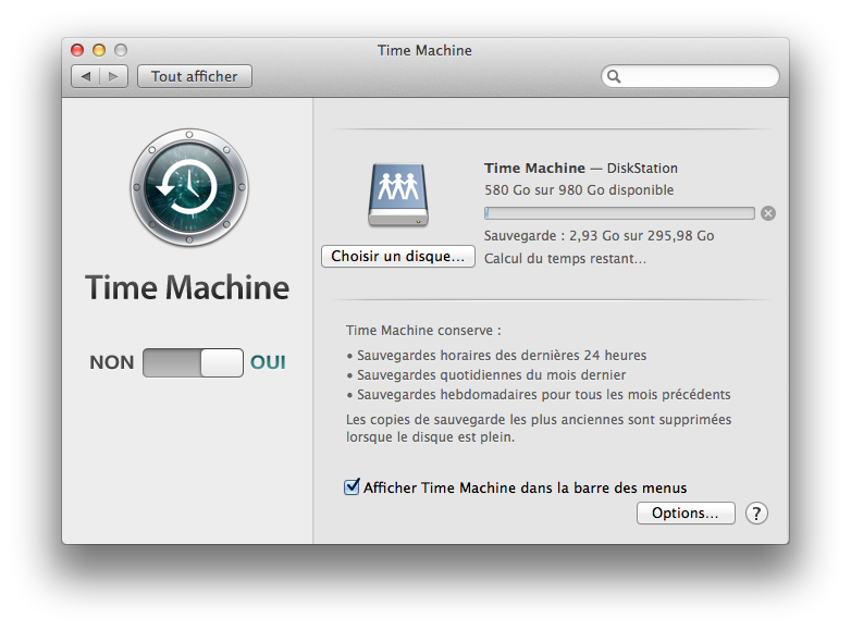 Mac OS X Mavericks Time Machine sauvegarde