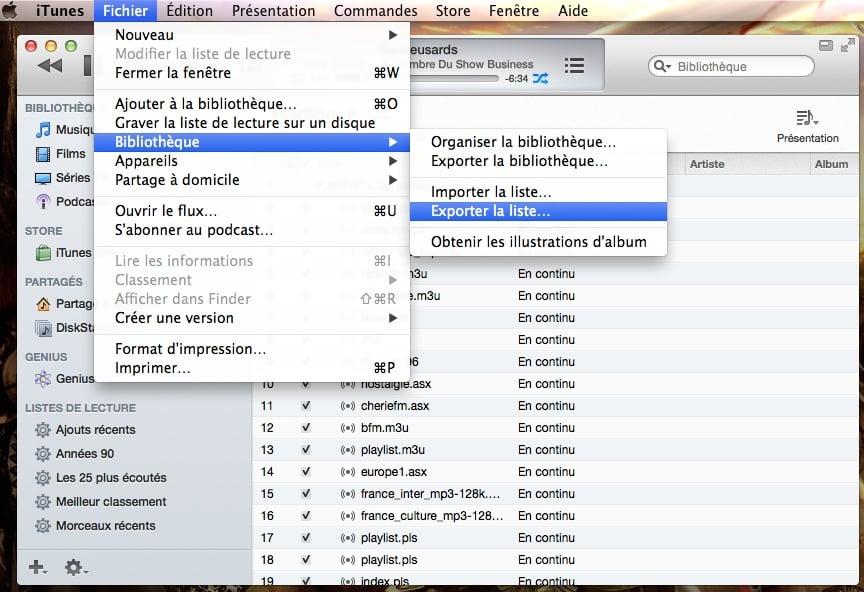 Mac OS X Mavericks exporter liste de lecture iTunes