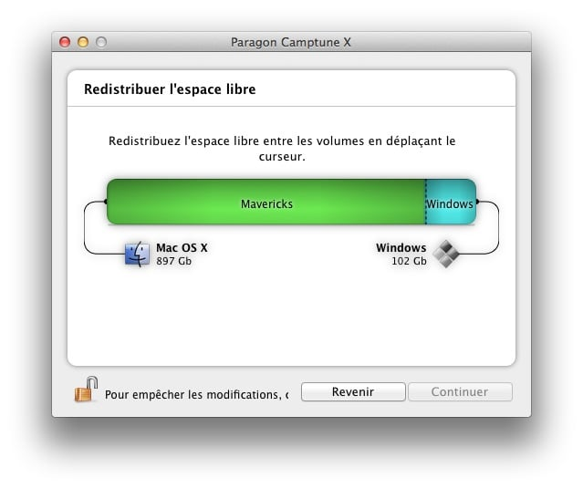 redimensionner une partition Mac ou Windows camptune redimensionner partition windows