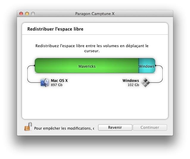 redimensionner une partition Mac ou Windows camptune redimensionner partition windows