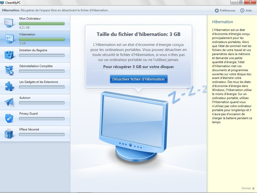 nettoyer windows supprimer fichier hibernation windows