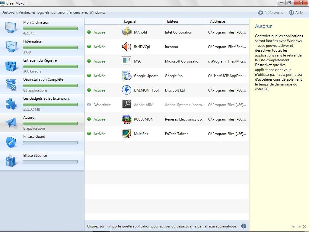 nettoyer windows windows 8 autorun