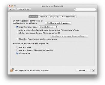 mavericks autoriser app installation