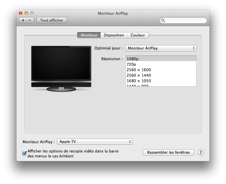 activer airplay mac apple tv