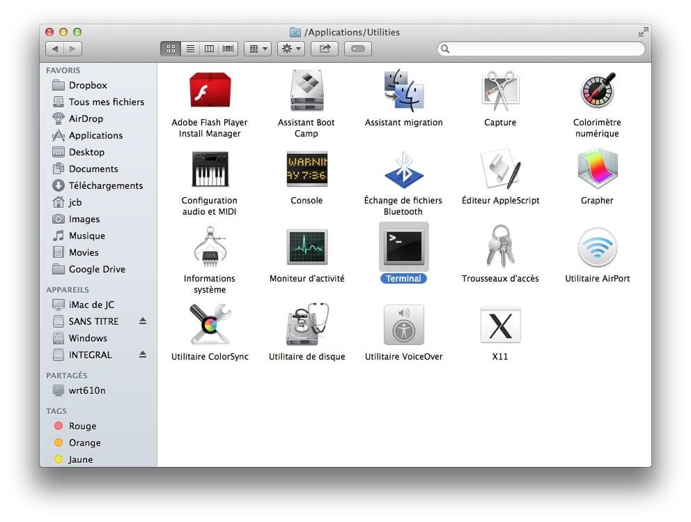 Tuto comment changer la couleur du terminal mac os x for Fenetre utilitaire mac
