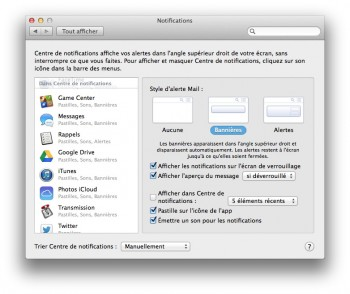 supprimer les alertes du Centre de notifications de Mavericks