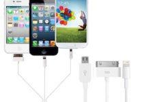 Câble de charge et synchronisation 4-en-1 : Apple Lightning / 30 Pins, USB, Micro USB