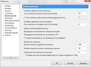 configurer bande passante utorrent