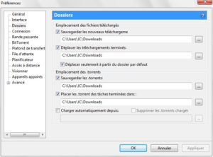 configurer utorrent dossiers de telechargements