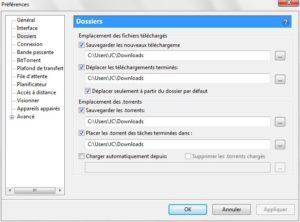 configurer utorrent dossiers de telechargements