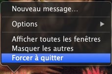 Forcer une application Mac à quitter menu