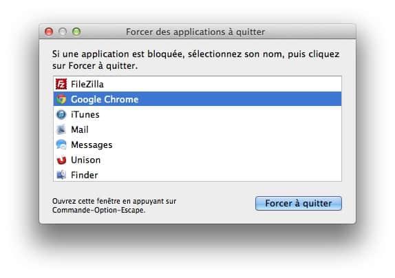 forcer une application mac a quitter rapidement