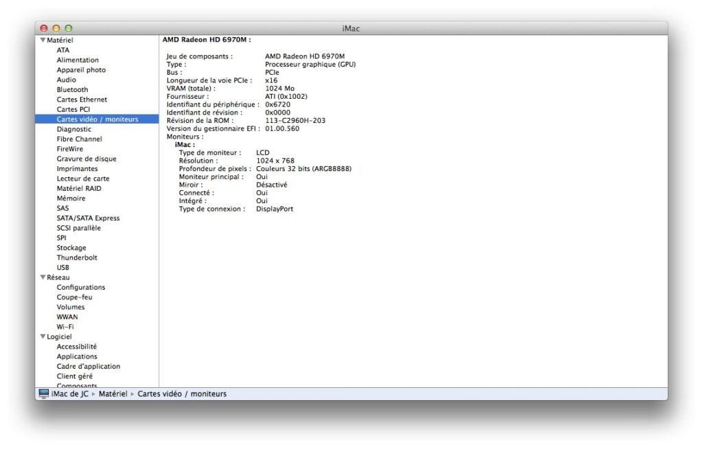caractéristiques techniques de son mac rapport système mac