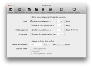 reglages bande passante utorrent mac