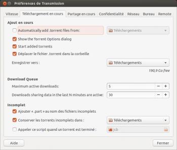 transmission ubuntu dossier reception