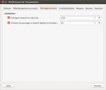 transmission ubuntu ratio partage