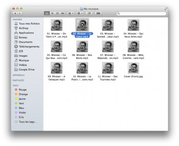 lire audio dans finder