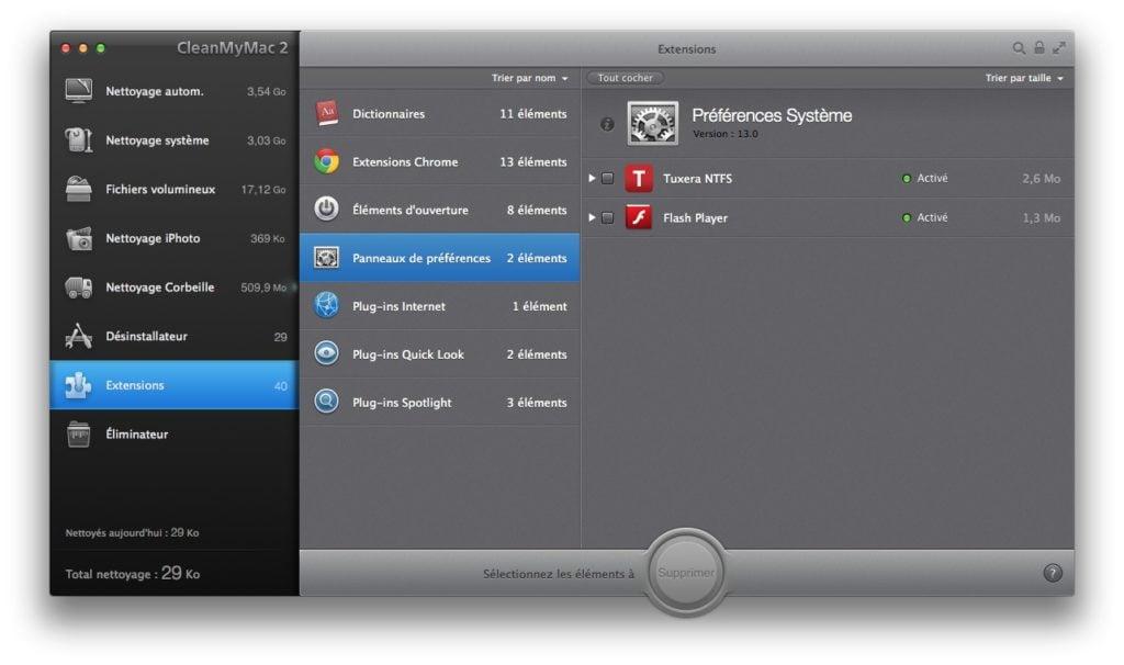 nettoyage extension et preferences mac
