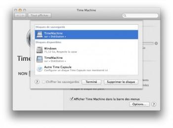 time machine choisir disque