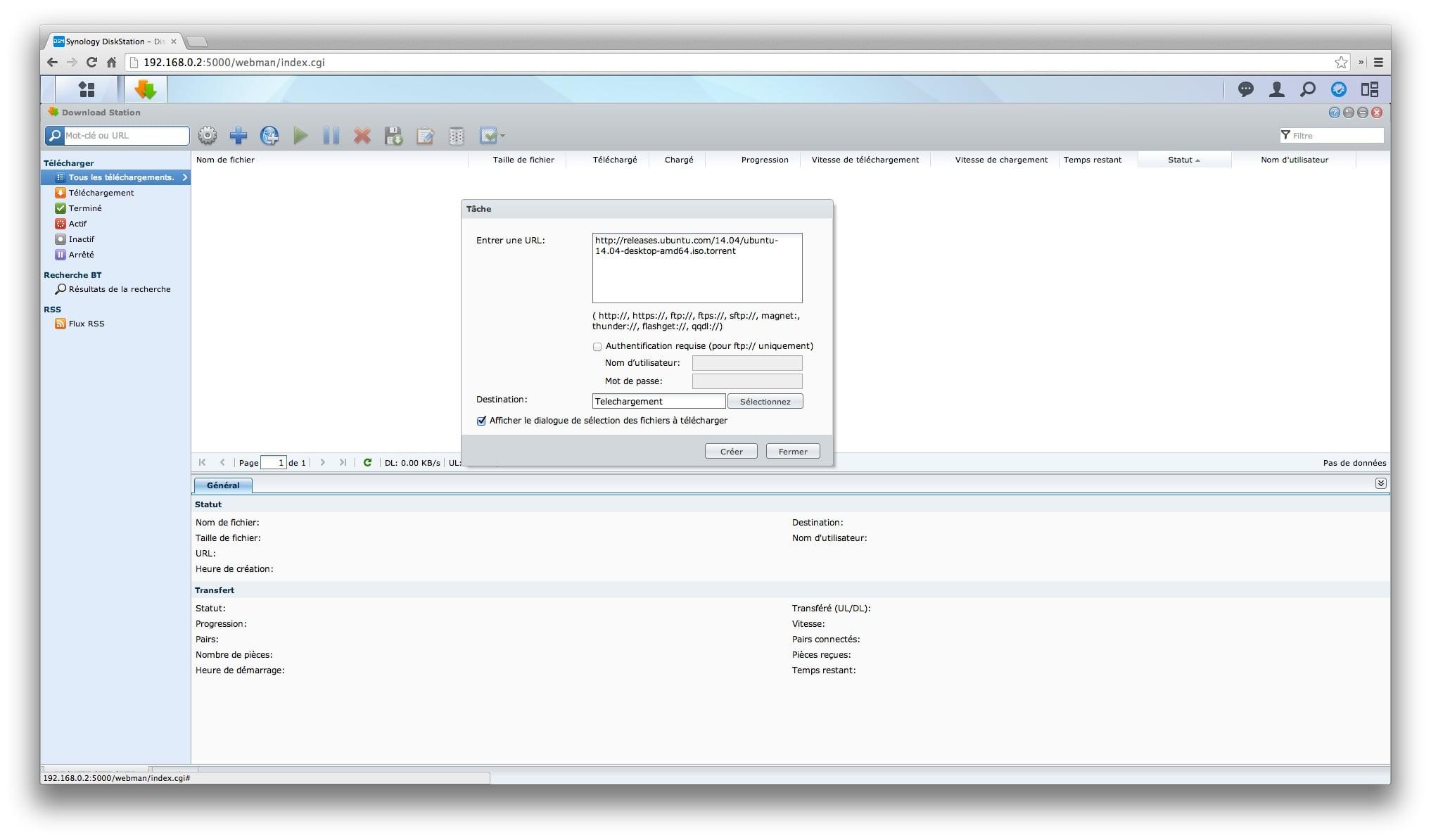 Download Station : Tuto BT, eMule, HTTP, FTP, NZB