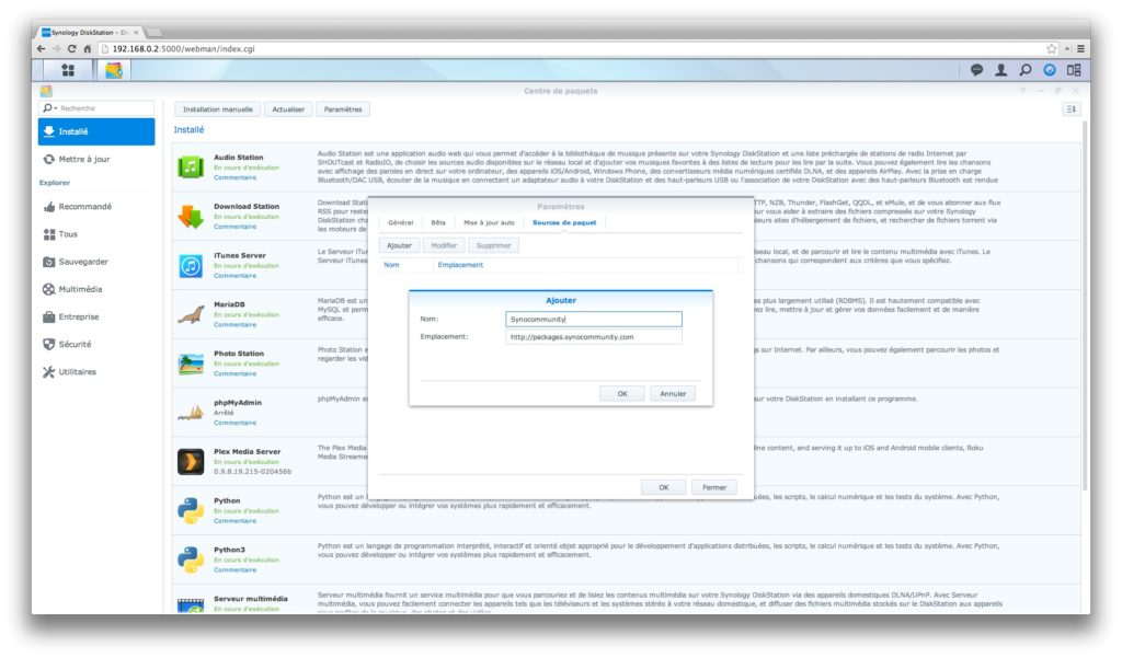 transmission synology ajout paquet