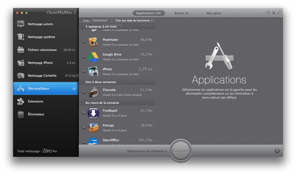 Nettoyage disque dur Mac applications