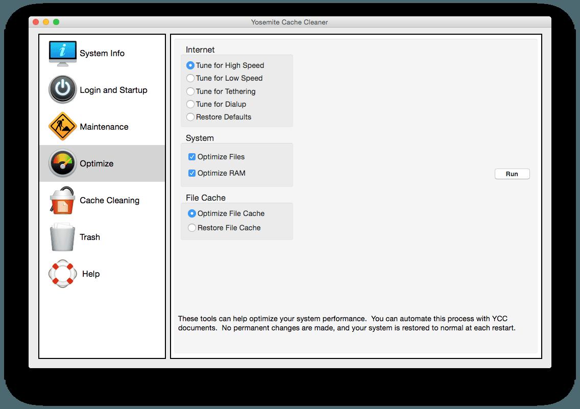Yosemite Cache Cleaner optimisation mac
