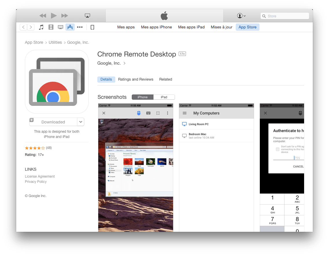 Chrome Remote Desktop appstore