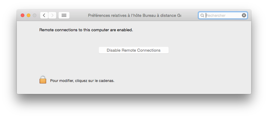 Chrome Remote Desktop preferences systeme mac