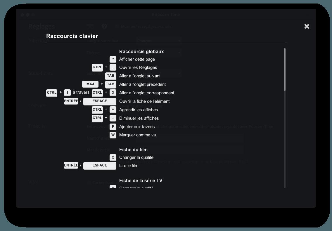 configurer popcorn time raccourcis clavier