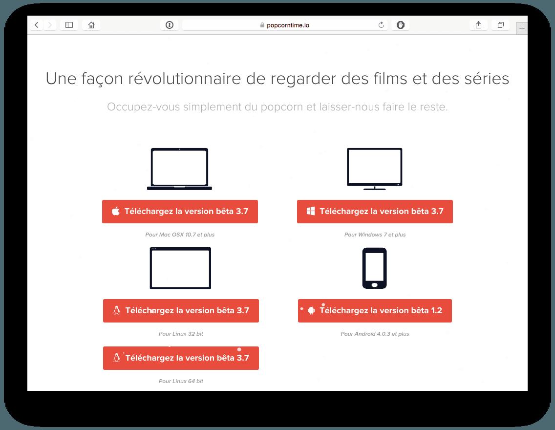 configurer popcorn time windows mac linux