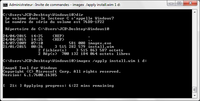 Installer Windows 10 sur une cle usb applying progress