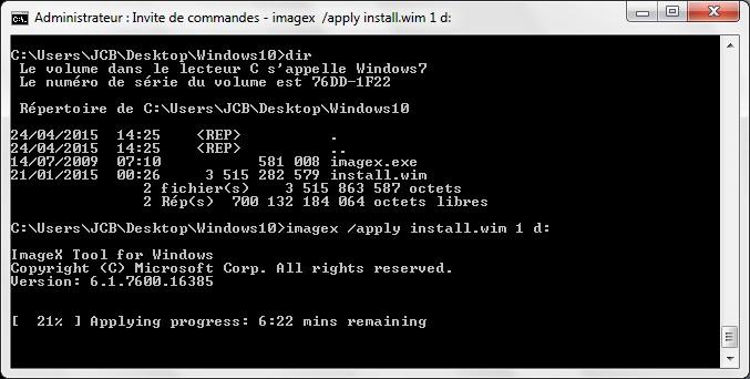 Installer Windows 10 sur une cle usb applying progress