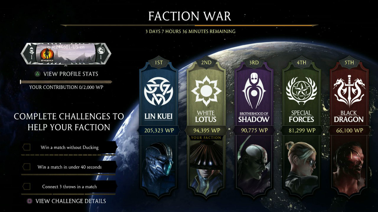 Mortal Kombat 10, faction war