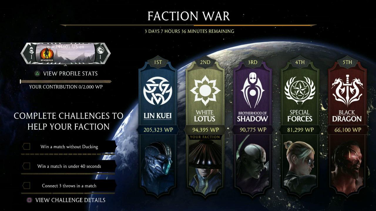 Mortal Kombat 10, faction war