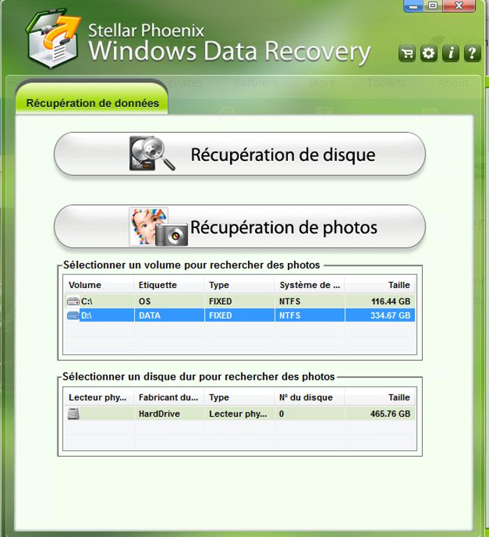 récupérer fichier effacé, sélection disque
