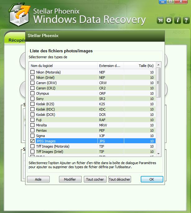 récupérer un fichier effacé, type fichier