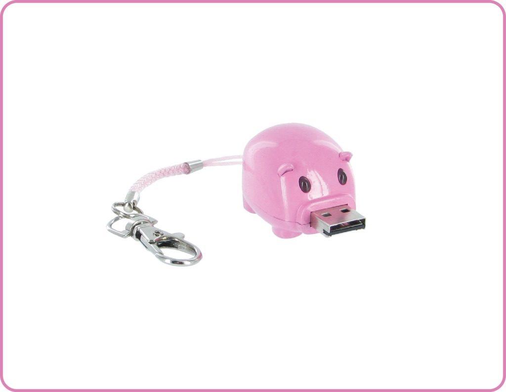 cochon usb porte cles rose