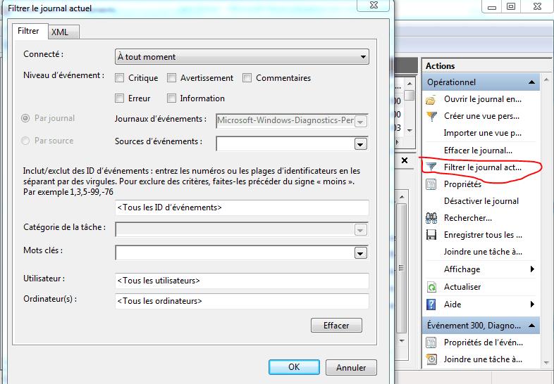 Temps de démarrage Windows : filtrer le journal actuel